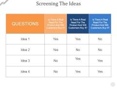 Screening The Ideas Ppt PowerPoint Presentation Inspiration Layout Ideas