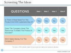 Screening The Ideas Ppt PowerPoint Presentation Styles Good
