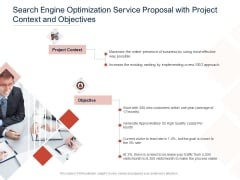 Search Engine Optimization Service Proposal With Project Context And Objectives Ppt PowerPoint Presentation File Infographic Template PDF