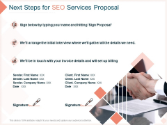 Search Engine Optimization Utilities Next Steps For SEO Services Proposal Diagrams PDF