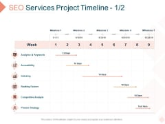 Search Engine Optimization Utilities Proposal SEO Services Project Timeline Analytics Icons PDF
