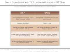 Search Engine Optimization Vs Social Media Optimization Ppt Slides