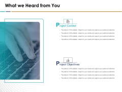 Search Engine Optimization What We Heard From You Ppt Pictures Example File PDF