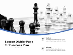 Section Divider Page For Business Plan Ppt PowerPoint Presentation Ideas Format Ideas PDF