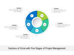 Sections Of Circle With Five Stages Of Project Management Ppt PowerPoint Presentation Show Graphics Template PDF