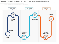 Secured Digital Currency Transaction Three Months Roadmap Graphics