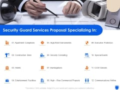 Security Guard Services Proposal Specializing In Ppt Gallery Brochure PDF