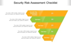 Security Risk Assessment Checklist Ppt PowerPoint Presentation Model Good Cpb Pdf