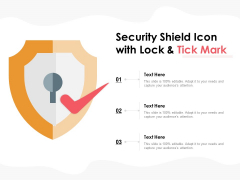 Security Shield Icon With Lock And Tick Mark Ppt PowerPoint Presentation Pictures Sample