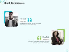 Seed Capital Client Testimonials Ppt PowerPoint Presentation Portfolio Backgrounds PDF