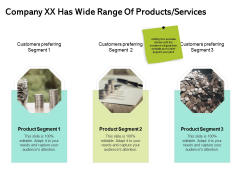 Seed Funding Pitch Deck Company XX Has Wide Range Of Products Services Ppt Model Icon PDF