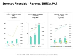 Seed Funding Pitch Deck Summary Financials Revenue EBITDA PAT Ppt Ideas Background Image PDF
