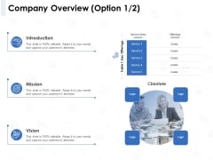 Seed Investment Company Overview Option Ppt Model Visual Aids PDF