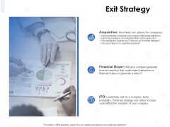 Seed Investment Exit Strategy Ppt Icon Elements PDF