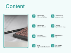 Segmenting User Market Content Ppt PowerPoint Presentation Summary Rules PDF