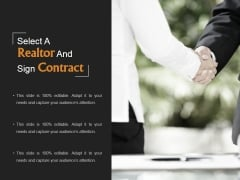 Select A Realtor And Sign Contract Ppt PowerPoint Presentation Diagrams