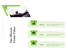 Select Of Organizational Model That Supports Your Strategy Our Mission Vision Values Infographics PDF