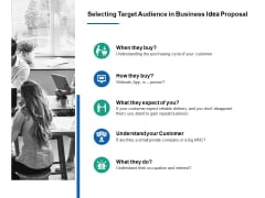 Selecting Target Audience In Business Idea Proposal Ppt PowerPoint Presentation Show Inspiration