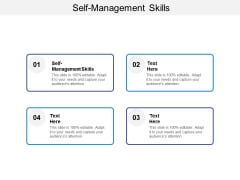 Self-Management Skills Ppt PowerPoint Presentation Samples Cpb