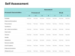 Self Assessment Compare Table Ppt PowerPoint Presentation Pictures