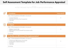 Self Assessment Template For Job Performance Appraisal Ppt PowerPoint Presentation File Background PDF