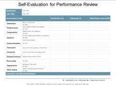 Self Evaluation For Performance Review Ppt PowerPoint Presentation Infographic Template Styles