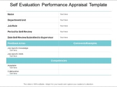 Self Evaluation Performance Appraisal Template Ppt PowerPoint Presentation Slides Vector
