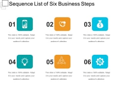 Sequence List Of Six Business Steps Ppt PowerPoint Presentation File Professional PDF