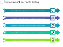 Sequence Of Five Points Listing Ppt PowerPoint Presentation Gallery Summary PDF