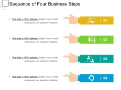 Sequence Of Four Business Steps Ppt PowerPoint Presentation Gallery Infographics PDF