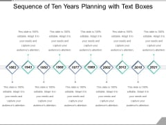 Sequence Of Ten Years Planning With Text Boxes Ppt PowerPoint Presentation Gallery Backgrounds PDF