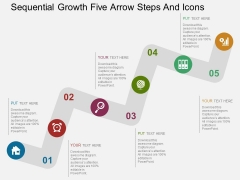 Sequential Growth Five Arrow Steps And Icons Powerpoint Template