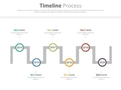 Sequential Timeline With Years For Target Management Powerpoint Slides