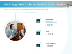 Series A Funding For Start Up Exit Strategy After Achieving Predetermined Objective Themes PDF
