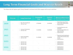 Series A Funding For Start Up Long Term Financial Goals And Ways To Reach Infographics PDF