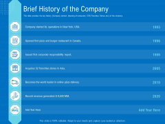 Series B Funding For Startup Capitalization Brief History Of The Company Ideas PDF