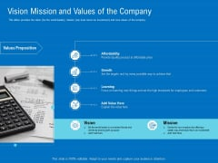 Series B Funding For Startup Capitalization Vision Mission And Values Of The Company Graphics PDF