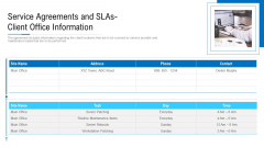 Service Agreements And SLAS Client Office Information Ppt Inspiration Guidelines PDF