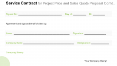 Service Contract For Project Price And Sales Quote Proposal Contd Inspiration PDF