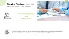 Service Contract For Project Price And Sales Quote Proposal Template PDF
