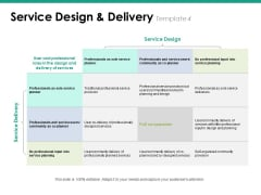 Service Design And Delivery Template 4 Ppt PowerPoint Presentation Gallery Icons