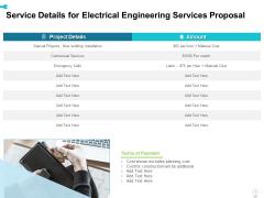 Service Details For Electrical Engineering Services Proposal Ppt Slides Maker PDF