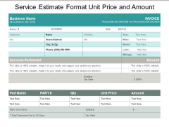 Service Estimate Format Unit Price And Amount Ppt PowerPoint Presentation Ideas Guidelines