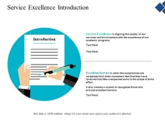 Service Excellence Introduction Ppt Powerpoint Presentation Slides Design Ideas