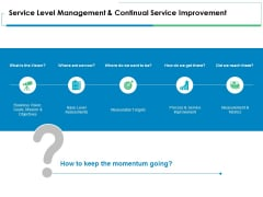 Service Level Management And Continual Service Improvement Ppt PowerPoint Presentation Ideas Show