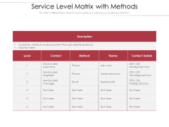 Service Level Matrix With Methods Ppt PowerPoint Presentation Gallery Themes PDF