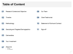 Service Market Research Table Of Content Ppt Show PDF