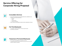 Service Offering For Corporate Hiring Proposal Ppt PowerPoint Presentation Portfolio Professional