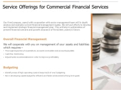 Service Offerings For Commercial Financial Services Ppt PowerPoint Presentation Infographic Template Information