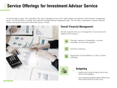 Service Offerings For Investment Advisor Service Ppt Pictures Display PDF